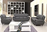 Container Furniture Direct S5397-3PC Michael 3 Piece Living Room Set, Gray