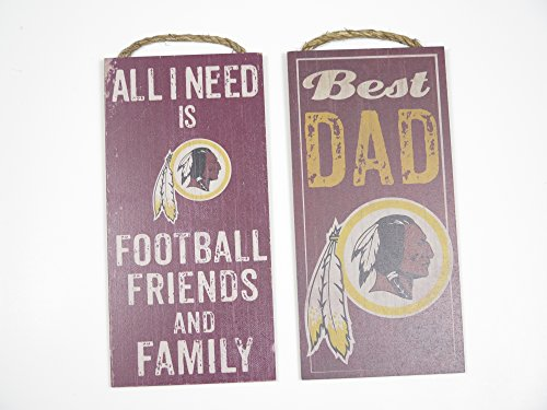 Washington Redskins sports wall decor 2 piece set. Includes Best Dad and Friends/Family wall plaques. Great for father's day gift.