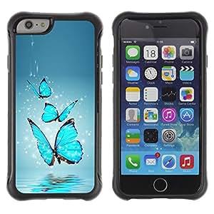 Be-Star único patrón Impacto Shock - Absorción y Anti-Arañazos Funda Carcasa Case Bumper Para Apple iPhone 6(4.7 inches) ( Blue Butterfly Water Splash )
