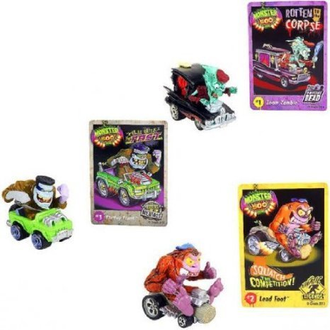 Monster 500 Small Car & Trading Card Collectors 3-Pack - Zoom Zombie, Lead Foot, Flattop Frank