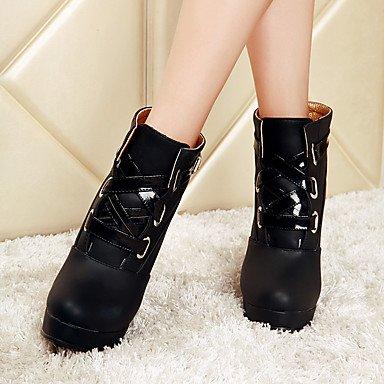 Botas de mujer invierno zapatos formales polipiel vestir casual Chunky talón hebilla Black