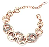 Diwali gifts Yutii Circle Links Rose Gold Crystals Bracelet For Girls and Women