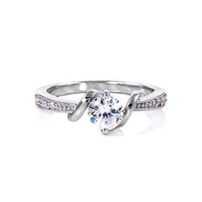 Amazon Com Entwined Love 0 71ct Brilliant Cut Ice On Fire Cz