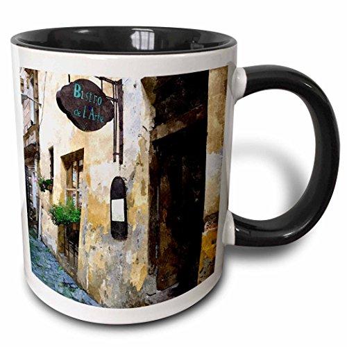 Tone Two Mug Bistro (3dRose TNMPastPerfect Exotic Places - Outside of European Bistro - 11oz Two-Tone Black Mug (mug_26022_4))