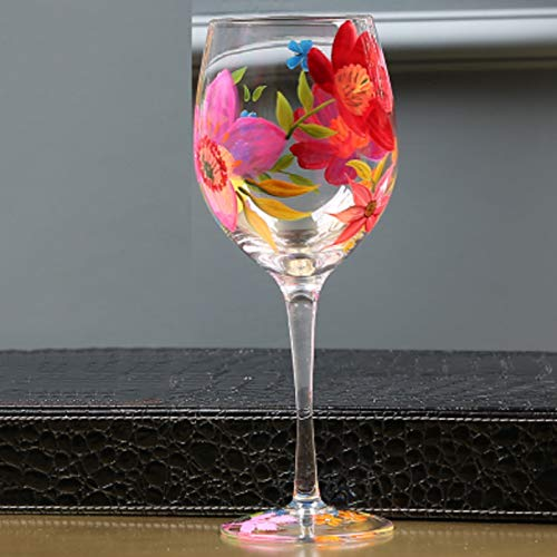 Hand Painted Wine Glass Pink Flowers Red&White Wine Glasses - 280ml, for Anniversary Valentines Day Birthday ()