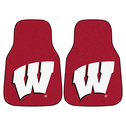 FANMATS NCAA University of Wisconsin Badgers Nylon Face Carpet Car Mat (Badgers Wisconsin Carpet)