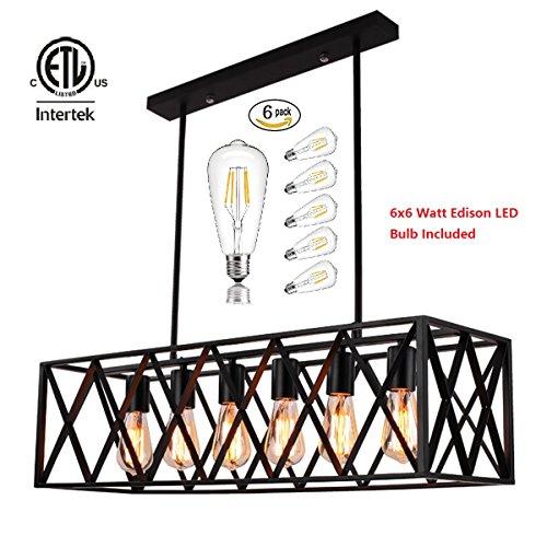 Industrial Vintage Ceiling Pendant Light Metal Hanging lighting Fixtures, 6x6 Watt Edison Led Bulbs Included (Billiard Ceiling Fixture)