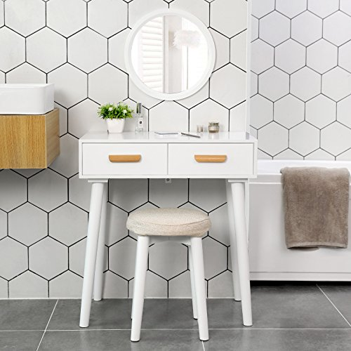 SONGMICS Modern Vanity Set with Wall Mirror, Wooden Makeup Table, 1 Stool and 2 Drawers, for Dressing Room, White URDT40WT