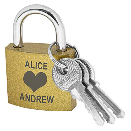 Customized Love Lock - Gold Coated Brass Padlock with Keys - Custom Engraved Forever Lock for a Love Bridge or Love Lock Ceremony - Personalized