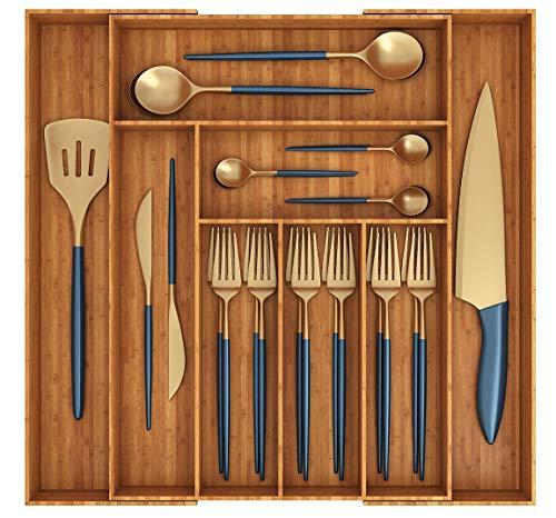 Miko Bamboo Expandable Kitchen Drawer Organizer - Multi Purpose - Cutlery Tray