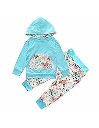Baby Kids Long Sleeve Floral Print Blue Tracksuit Pocket Top +Pants Sets