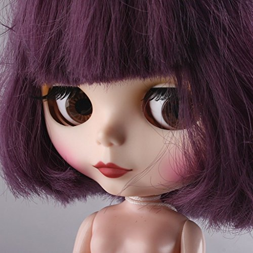 """TONGROU For 12"""" Neo /Doll 7 Joints Purple Short Wig ~ Matte Face"""