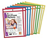Charles Leonard Reusable Clear Dry Erase Pockets, Holds Worksheets Up To 9 x 12 Inches, Assorted Colored Piping, 10-Pack of Pockets (29010)
