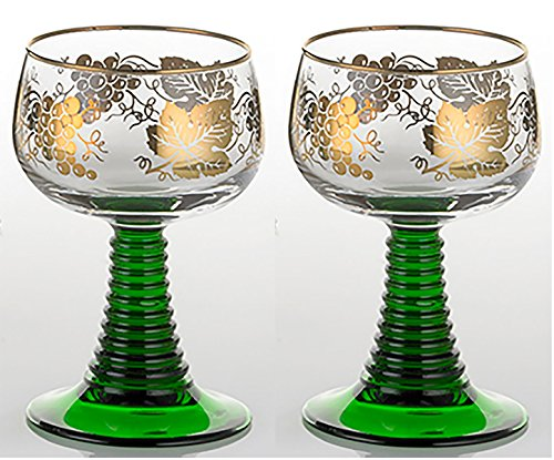 Set of 2 German Rhein Glass Roemer Vintage Goblet Wine Glass w/ Gold-Leaf Rim and Grape Pattern Vintage Wine Glass Goblet (Gold Leaf Wine)