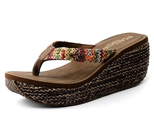 Maybest Women's Bohemian Summer Platform Wedge Beach Flip Flop Toe High Heel Thong Sandals ( Brown 7 B (M) US ) (Sandals Upper High Heel)