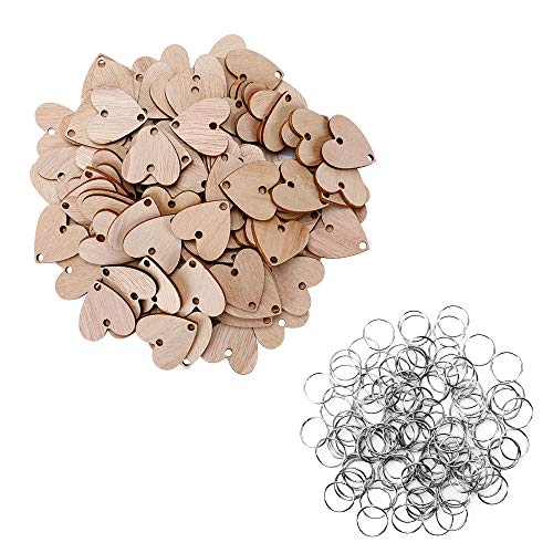 (Joy-Leo 100 Pieces Heart Unfinished Wood Tags with 2 Holes [1.2 Inch/Grain Texture] & 100 Pieces Jump Rings for Crafts & Family Birthday & Anniversary & Celebration Reminder Calendar Plaque)