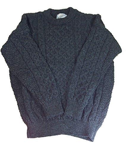 - Kerry Woollen Mills Aran Sweater 100% Wool Charcoal Unisex Irish Made Medium