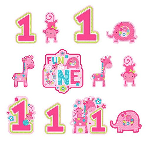 Amscan 12 Wild Fun to be One Pink Girl's 1st Birthday Party Cutout Wall Decorations ()
