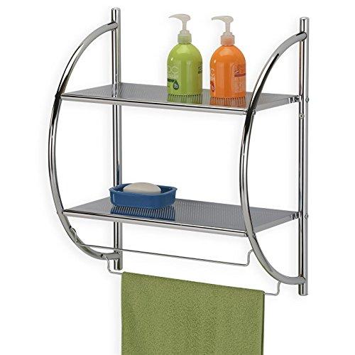 IDIMEX Badregal Wandregal Wand- Handtuchhalter Janine, 2 Ablagen, aus  Metall gefertigt, hochwertig verchromt/Chrom