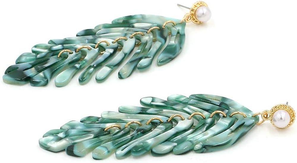 Etase Nouveau Longue Balancent R/ésine Vert Feuilles Boucles DOreilles Partie Bijoux Accessoires Main Fait a la Mode Acrylique Boucles DOreilles pour les Femmes Ornements Vert