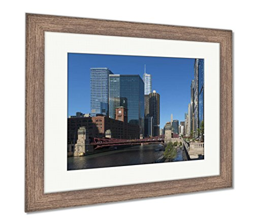 Ashley Framed Prints Chicago Downtown Architecture, Wall Art Home Decoration, Color, 30x35 (frame size), Rustic Barn Wood Frame, AG6355633