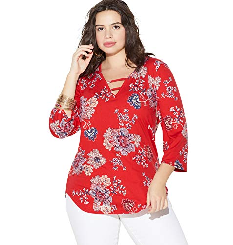 Loralette Women's Paisley Caged Top, 1X Red Print