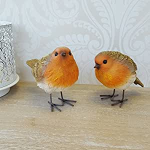Par de pequeñas Robin pájaro, Vintage Style–una gran adición A Tu Hogar y Jardín.