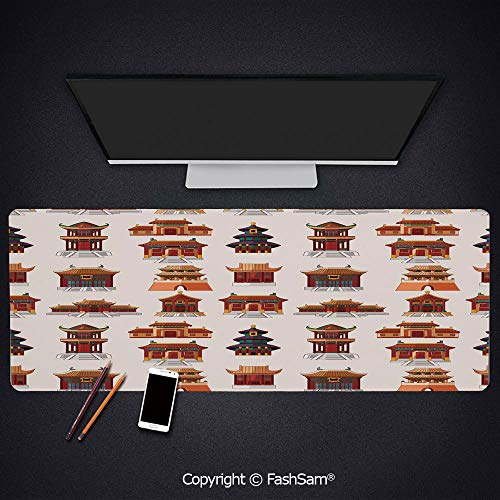Personalized Large Mouse Pad Cartoon Style Antique Houses Pattern Ethnic Asian Design Elements Keyboard Pad for Laptop(W27.5xL11.8)