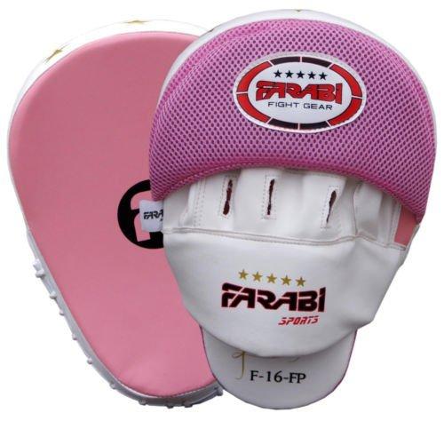 Farabi Boxing Focus Pads Hook & jab Mitts Boxing Training Pads MMA Kickboxing pad Pink and White