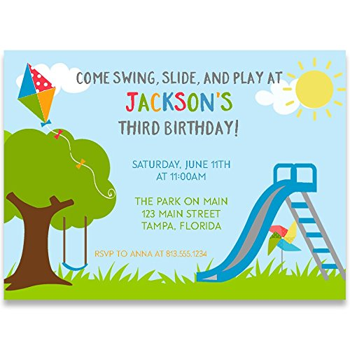Birthday Party Invitations, Playground Birthday, Blue, Green, Red, Yellow, Playground Birthday Party Invitation, Boys, Swing, Slide, Play, Kite, Set of 10 Custom Printed Invites with Envelopes