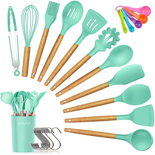 Silicone Cooking Utensils Kitchen Utensil Set, Bamboo Wooden Handles Cooking Tools Turner Tongs Spatula Spoon for Nonstick Cookware - Best Kitchen Tools Gadgets (Green-12 PCS) (Green Ladle)