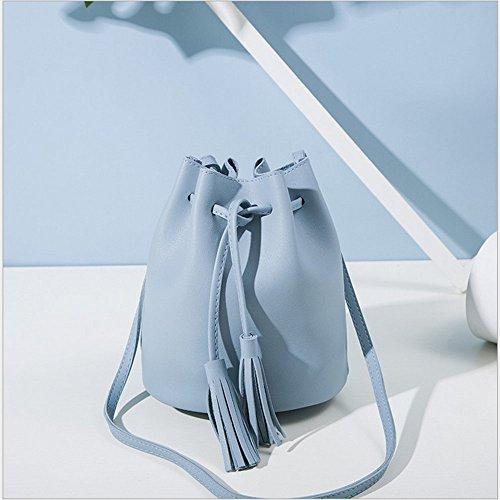 Rrock Female Tasche Schulter Umhängetasche Retro Quaste Kordelzug Tasche Blue JV6rt6Tbx
