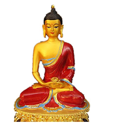 Statue Buddha Copper - ZHM Store 6 inch Nepal Style Buddhist Suppliers Tibetan Alloy Copper Plated Colored Amitabha Buddha Statue