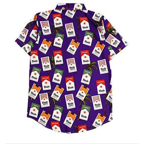 Cortas Purple Con Árbol Coco Verano Estampada De Mangas Camiseta Gráfico Harajuku F61wxX