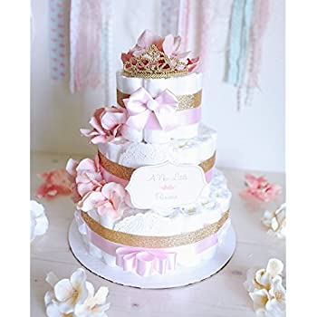 Amazon 3 tier baby girl damask pink gray diaper cake baby 3 tier baby girl princess tiara diaper cake gold pink baby shower centerpiece decoration baby room elegant unique gift tulle wrapping reheart Choice Image