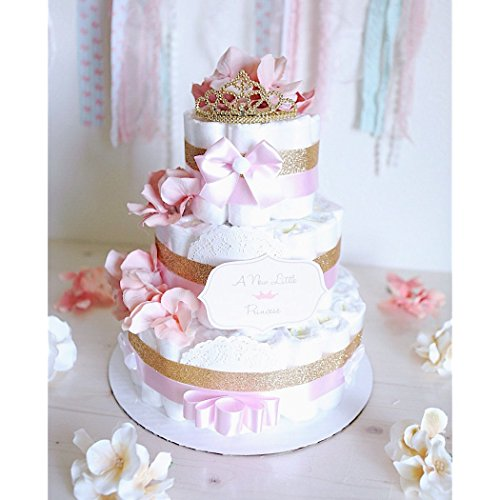3 Tier - Baby Girl Princess Tiara Diaper Cake / Gold & Pink Baby Shower Centerpiece decoration / baby room / Elegant / unique gift / tulle (3 Tier Diaper Cake)