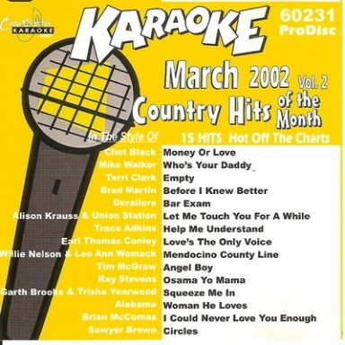 Country Hits of the Month March 2002 Karaoke 60231 ProDisc
