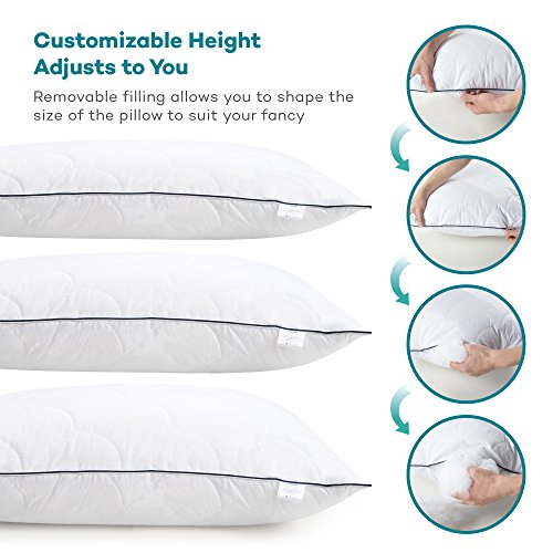Sable Pillows for Sleeping, Registered with FDA Goose Down Alternative Bed Pillow 2 Pack, Super Soft Plush Fiber Fill, Adjustable Loft, Relief for Neck Pain, Side Sleeper, Hypoallergenic, Queen Size