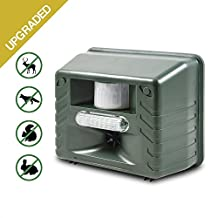 [UPGRADED] Aspectek Yard Sentinel STROBE - Ultrasonic Pest Repeller with Motion Detector, Strobe & Intruder Alarm