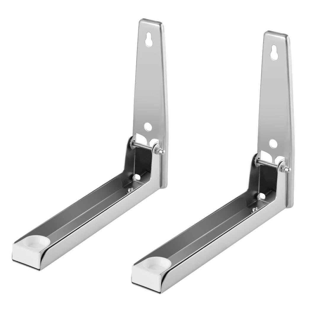 Universal Microwave Wall Mount, Stainless Steel Sturdy Foldable Microwave Bracket Kitchen Wall Rack (Set of 2)