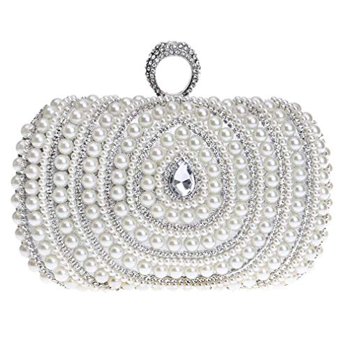 Evening Rhinestone Bag White Pearl Faux Womens Fashion Purse Clutch Clutch YANXH Cascading Evening Bead C8gzwxq