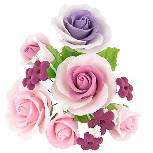 Sugar Icing Flowers - Garden Rose Gumpaste Topper Bouquet Pink & Lavender by Chef Alan Tetreault