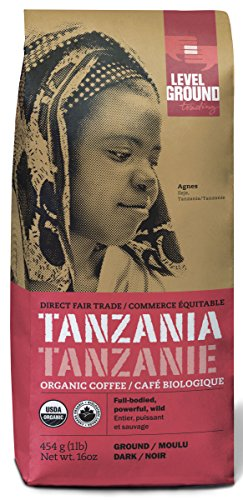 Tanzanian Certified Organic Fair Trade Dark Roast Ground Coffee 1 lb 454 g