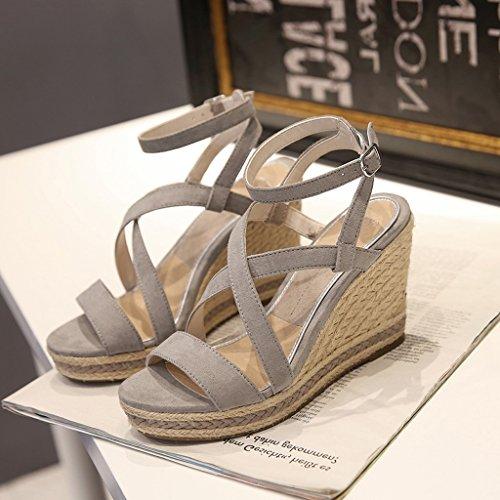 49cd0e2a Delicado SANDALIAS cuña gris para mujer - zapatos de fiesta sexy con tacones  altos de la
