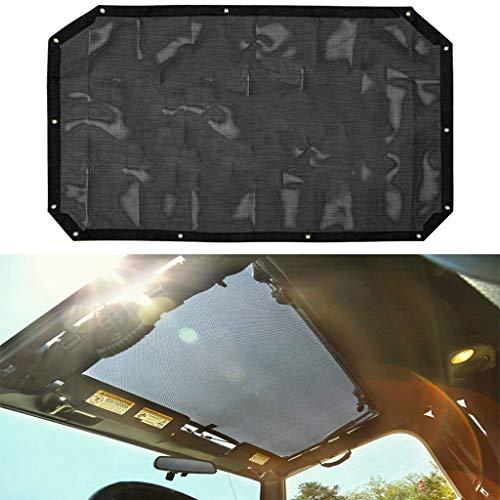 One Piece Door Panel - for Jeep Wrangler JK Mesh Shade Top Cover UV Protection Sunshade Net Roofs 2-Door & 4-Door Models (Black)
