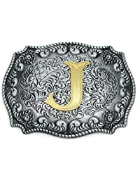 Western Belt Buckle Initial Letter ABCDJMS to Z- Cowboy Rodeo Belt Buckles for Women Men (J)