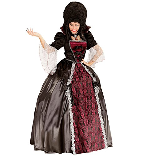 WIDMANN 05611 – Adultes Costume Vampiress, robe, jupon, col avec Cameo