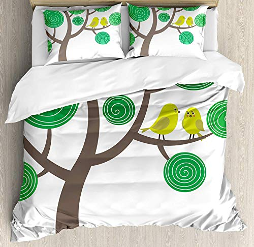 - VANKINE Animal Nature Decor Queen Size Duvet Cover Set, Colorful Yellow Birds on Green and Brown Tree Wildlife Park Cartoon Fun Art Print,Fashion 3 Piece Bedding Set with 2 Pillow Shams