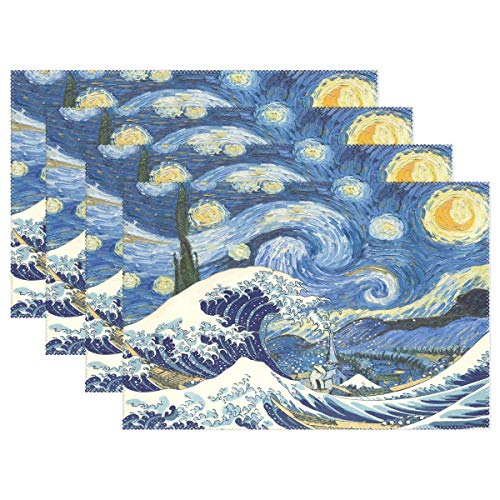 Nander The Great Wave Starry Night Set of 4 Placemat Waterproof Decoration Mat Heat-Resistant Tablemat Dishes Coaster Tableware Mat for Table