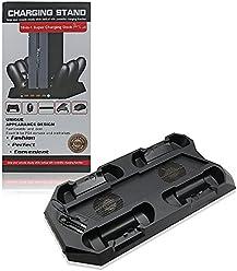 booEy PS4 Standfuß Ladestation für 4 Controller mit Kühler Lüfter 3x USB Anschluss